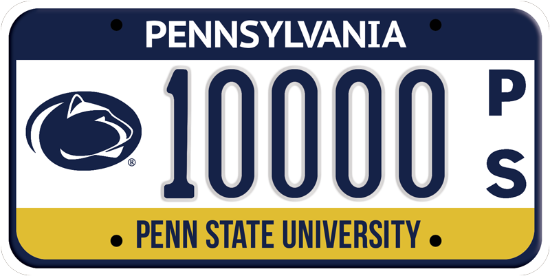 "A sample photo of the Penn State license plate with the oval lion graphic to the left of the plate numbers, and the letters ""p"" and ""s"" stacked vertically to the right of the numbers."