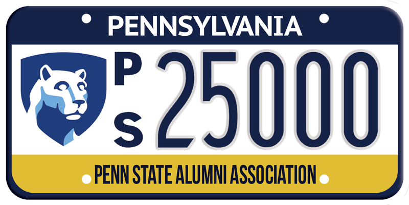 "A sample photo of the Penn State Alumni Association license plate with the shield graphic and the letters ""p"" and ""s"" stacked vertically to the left of the plate numbers."